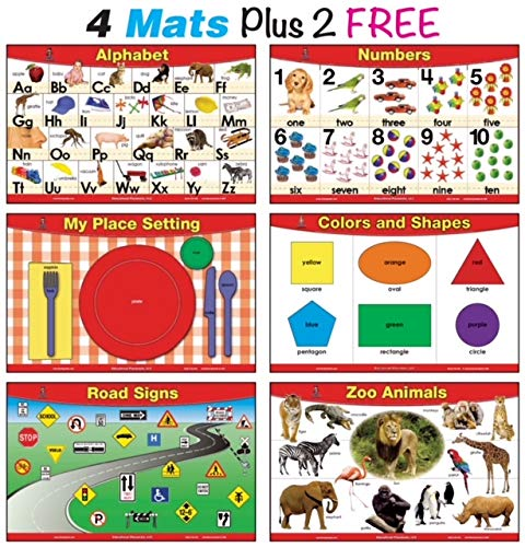 brainymats Educational Kids Placemats Set of 4 + 2 FREE (Basic Skills)- Alphabet, Counting 1 to 10, Place Setting, Colors and Shapes Plus 2 - FREE- Zoo Animals and Road - Set Placemat Free