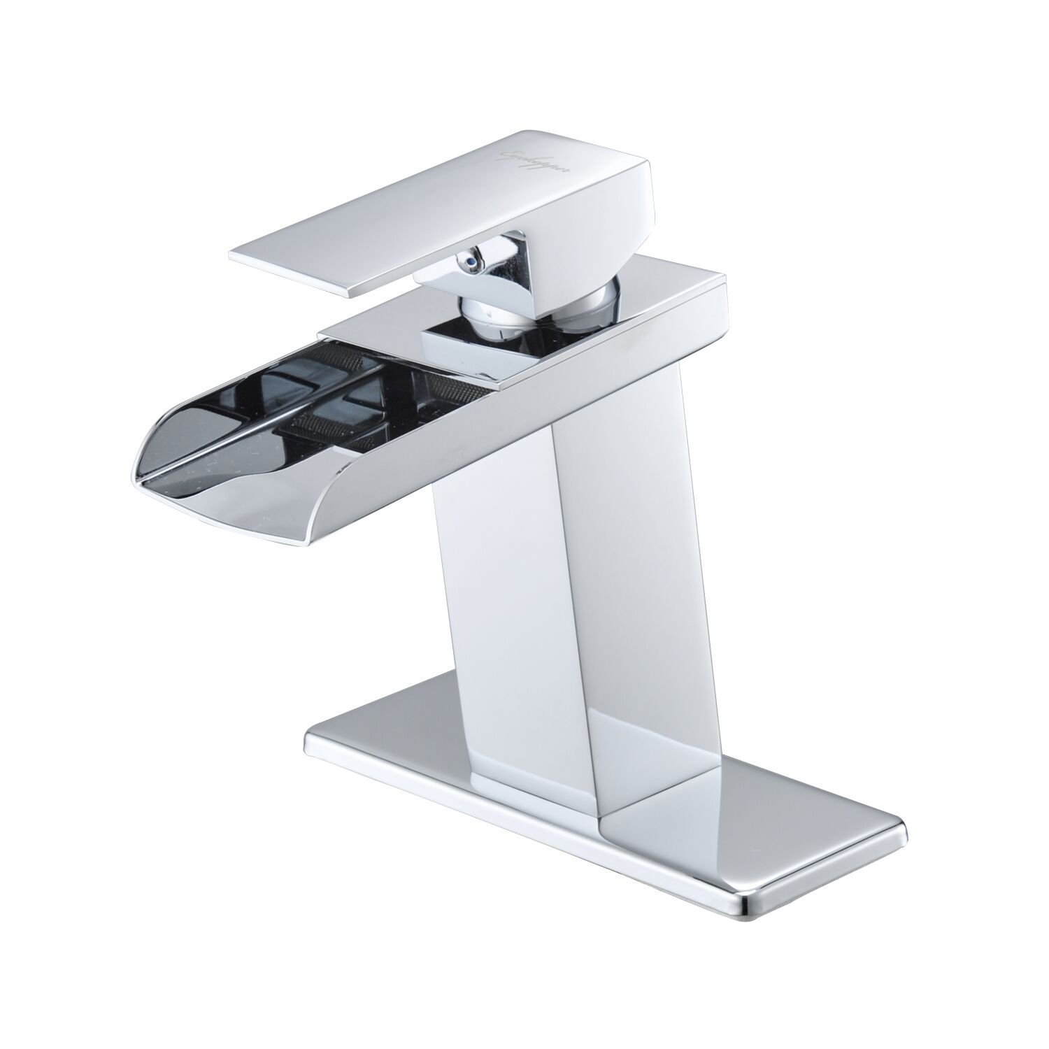 BWE Chrome Waterfall Bathroom Faucet Single Handle One Hole Deck Mount Lavatory by BWE