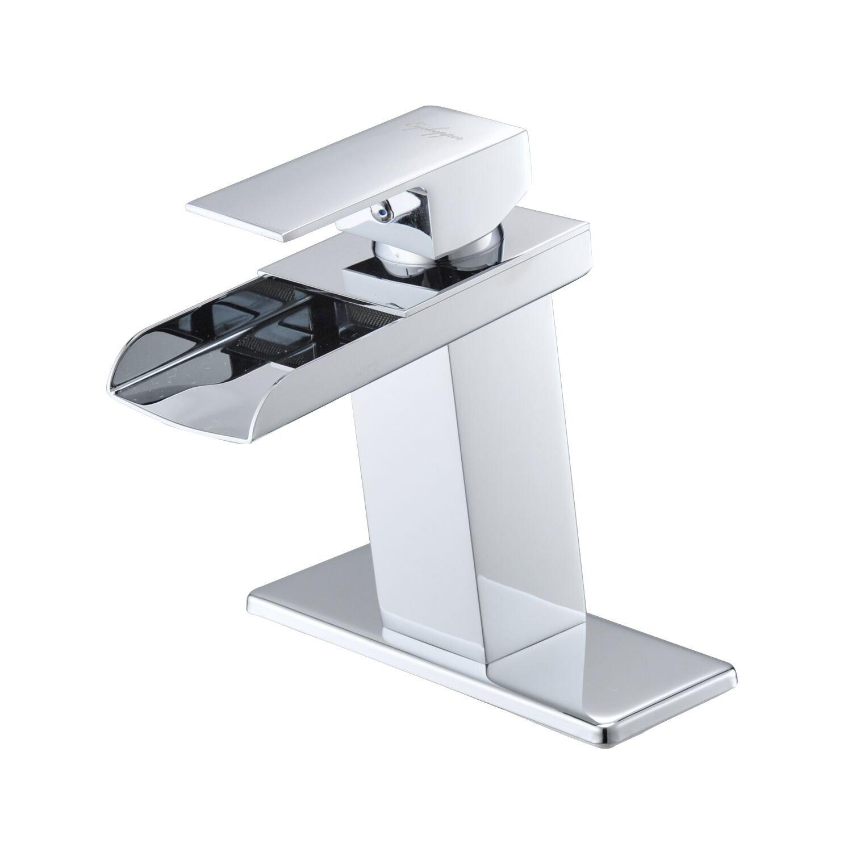 BWE Chrome Waterfall Bathroom Faucet Single Handle One Hole Deck Mount Lavatory by BWE
