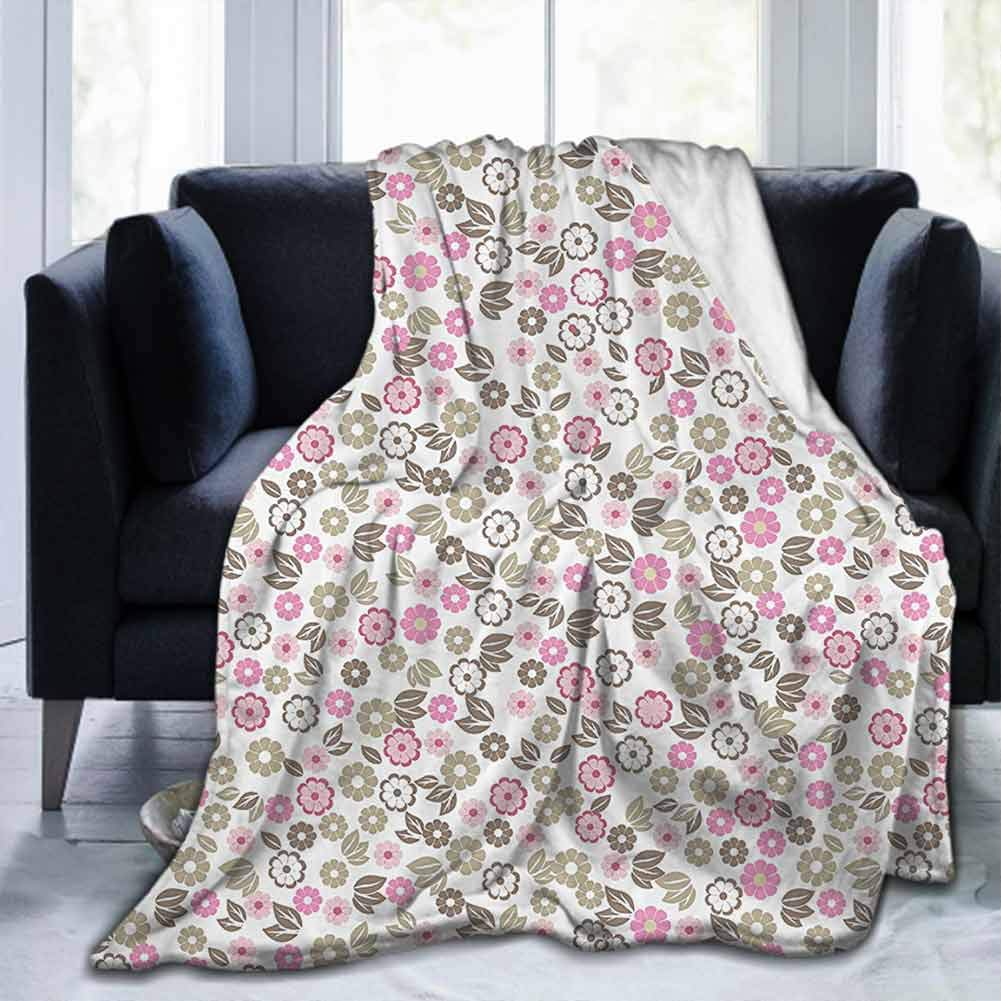 """dsdsgog Soft Blanket Throw House Decor Collection,Autumn Countryside Wildflowers Herbs Botany Chamomile Artistic Design,Pink Tan White,60""""x62"""" for Kids Adults Boys Girls Mens Womens"""