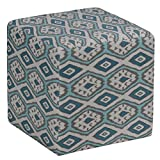 Cortesi Home Braque Cube Ottoman in Blue Linen Ikat Print Fabric For Sale