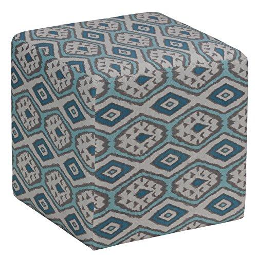 Cortesi Home Braque Cube Ottoman in Blue Linen Ikat Print Fabric