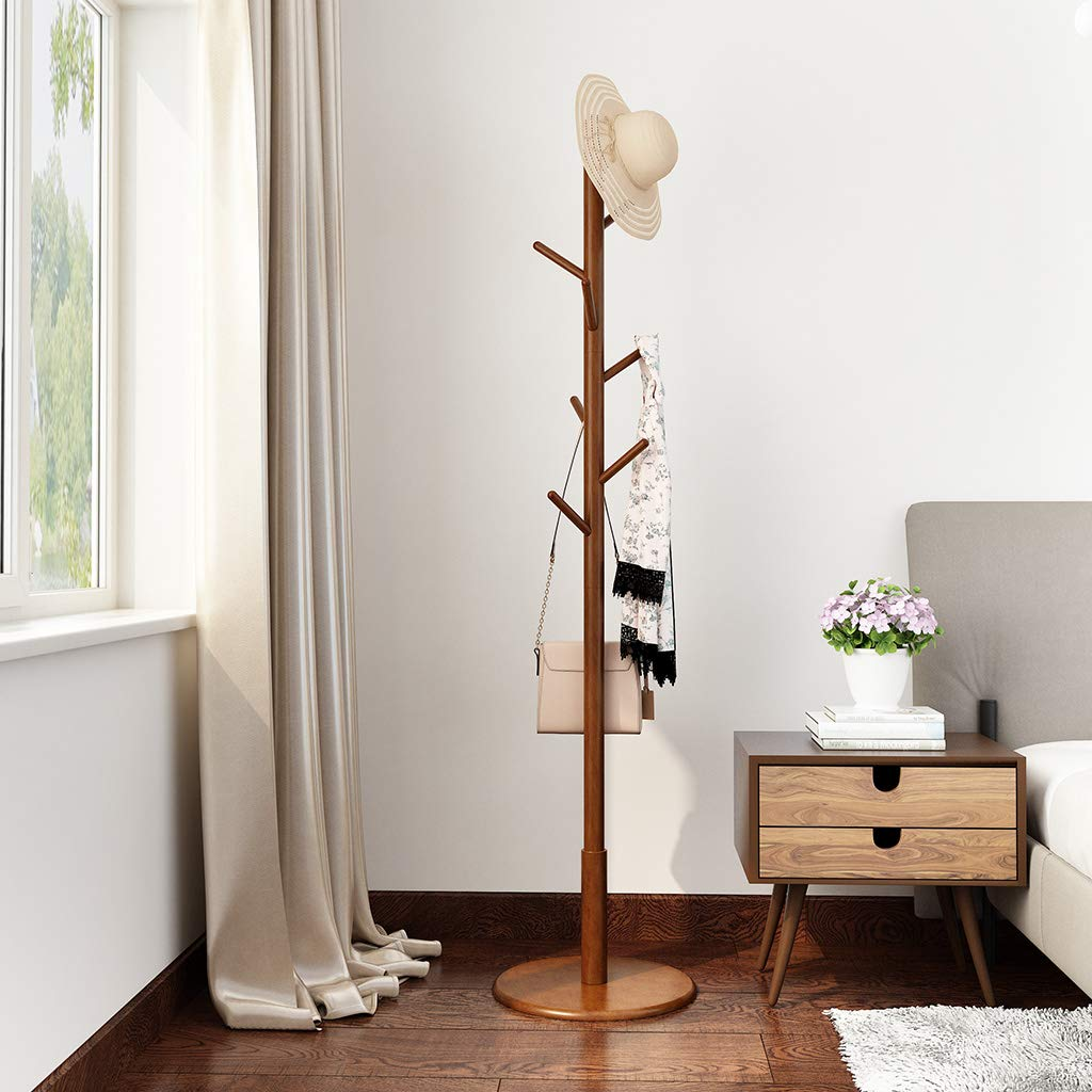 LANGRIA Rubber Wood Coat Rack Free Standing Hat Hanger Tree Holder, Suits Hallway Entryway Room Home Office, Clothes Organizer with Round Base, For Jackets Hats Bags Umbrella 8 Hooks, Coffee Color
