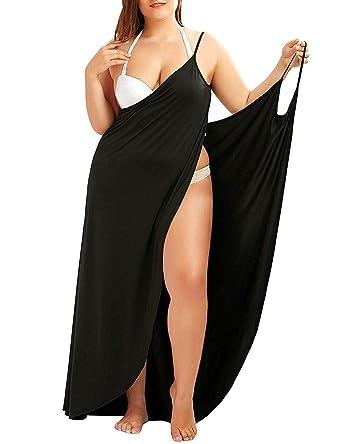 18356c19b9 AOFITEE Women's Plus Size Beach Cover Up Spaghetti Strap Sexy Backless  Bikini Wrap Beach Dress at Amazon Women's Clothing store: