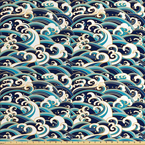 Ambesonne Nautical Fabric by The Yard, Traditional Oriental Style Ocean Waves Pattern with Foam and Splashes Print, Decorative Fabric for Upholstery and Home Accents, 1 Yard, Blue and White