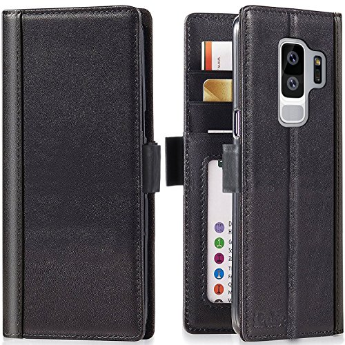 Galaxy S9 Plus Wallet Case - iPulse Journal Series Italian Full Grain Leather Flip Case for Samsung Galaxy S9 Plus with Magnetic Closure - Black
