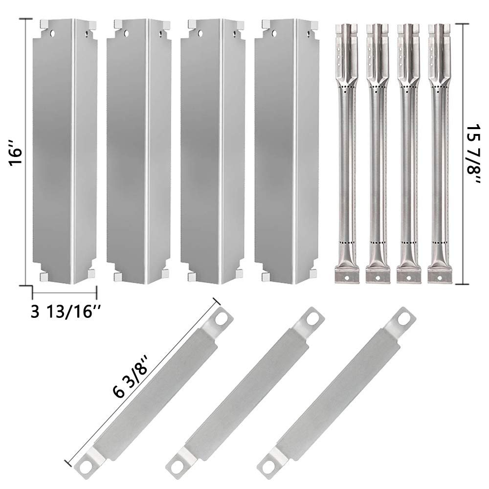 SHINESTAR Grill Replacement Parts for Charbroil 463268007, 463268606, 463261107, 463268706, Stainless Steel 16 inch Heat Tent Shield Plates Flame Tamers + Burner Tubes + Crossover Carry Over Burners