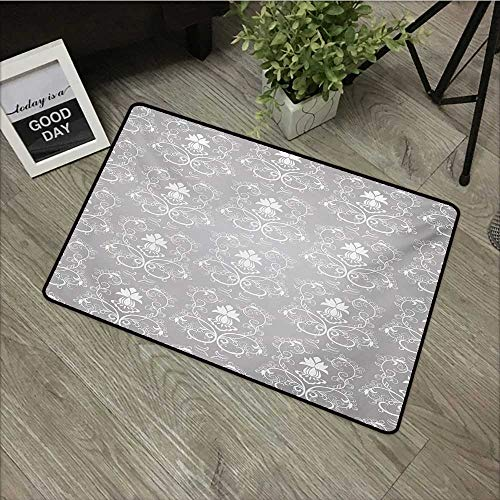Outdoor door mat W24 x L35 INCH Damask,Damask Style Antique Floral Motifs Pattern Royal Victorian Design Vintage Leaves,Gray and White Natural dye printing to protect your baby's skin Non-slip Door Ma