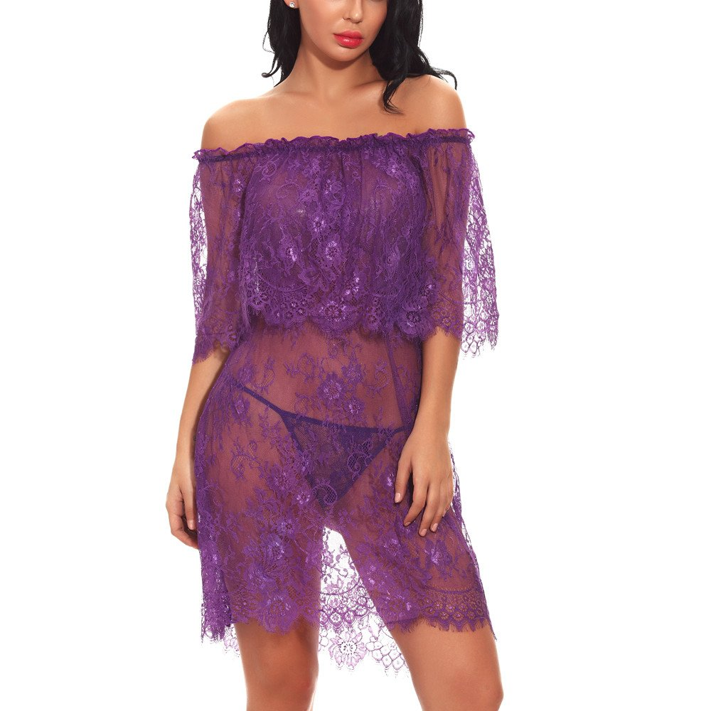 Women Red Sexy Nightgown Off-Shouder   Ladies Sheer-Through Lace Exotic Lingerie Babydoll By Wesracia(Purple,L)