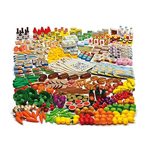 Erzi Pretend Play Wooden Grocery Shop Merchandize Shop Assortment L, 351 Pc by Erzi