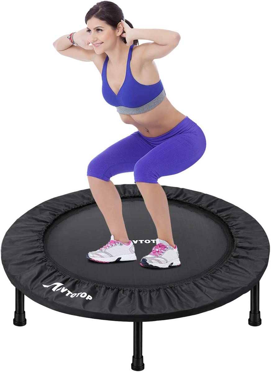 MOVTOTOP Mini Trampoline 38/40 Inch, Folding Indoor Trampolines with Safety Pad, Fun Mini Fitness Rebounder Trampoline for Kids Adults Indoor/Garden Workout
