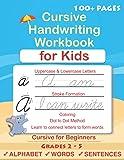 Cursive Handwriting Workbook For Kids: Cursive for beginners workbook. Cursive letter tracing book. Cursive writing…