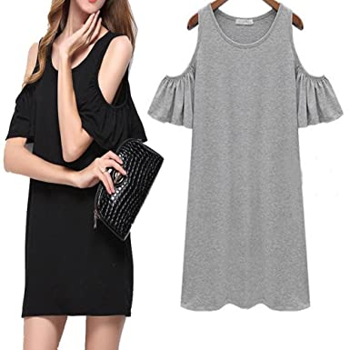 HUIJSNQ New Black Grey Summer Dress Solid Loose Women Dresses Hot Sale O-neck Ladies