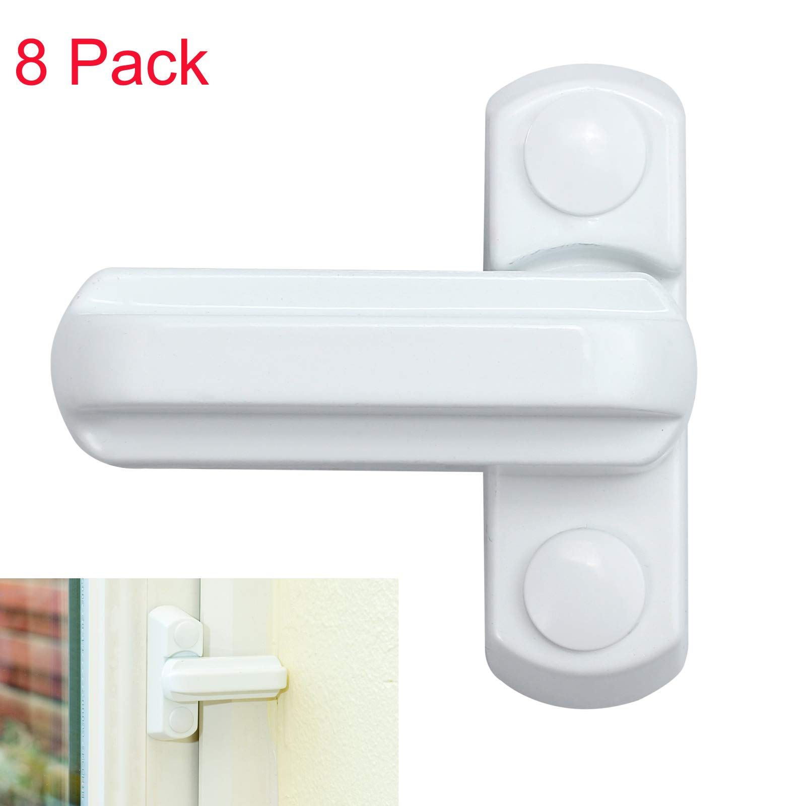 LiNKFOR 8Pcs Sash Lock Sash Windows Lock Sash Jammer Strong Zinc Cast Alloy Extra Security Locks for Various UPVC/PVC Doors, Windows and Home Security by LiNKFOR
