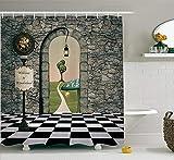 Pillowcase Alice In Wonderland Decorations Shower Curtain Set, Welcome Wonderland Black And White Floor Tree Landscape Mushroom Lantern, Bathroom Accessories,Multi 60X72 Inch