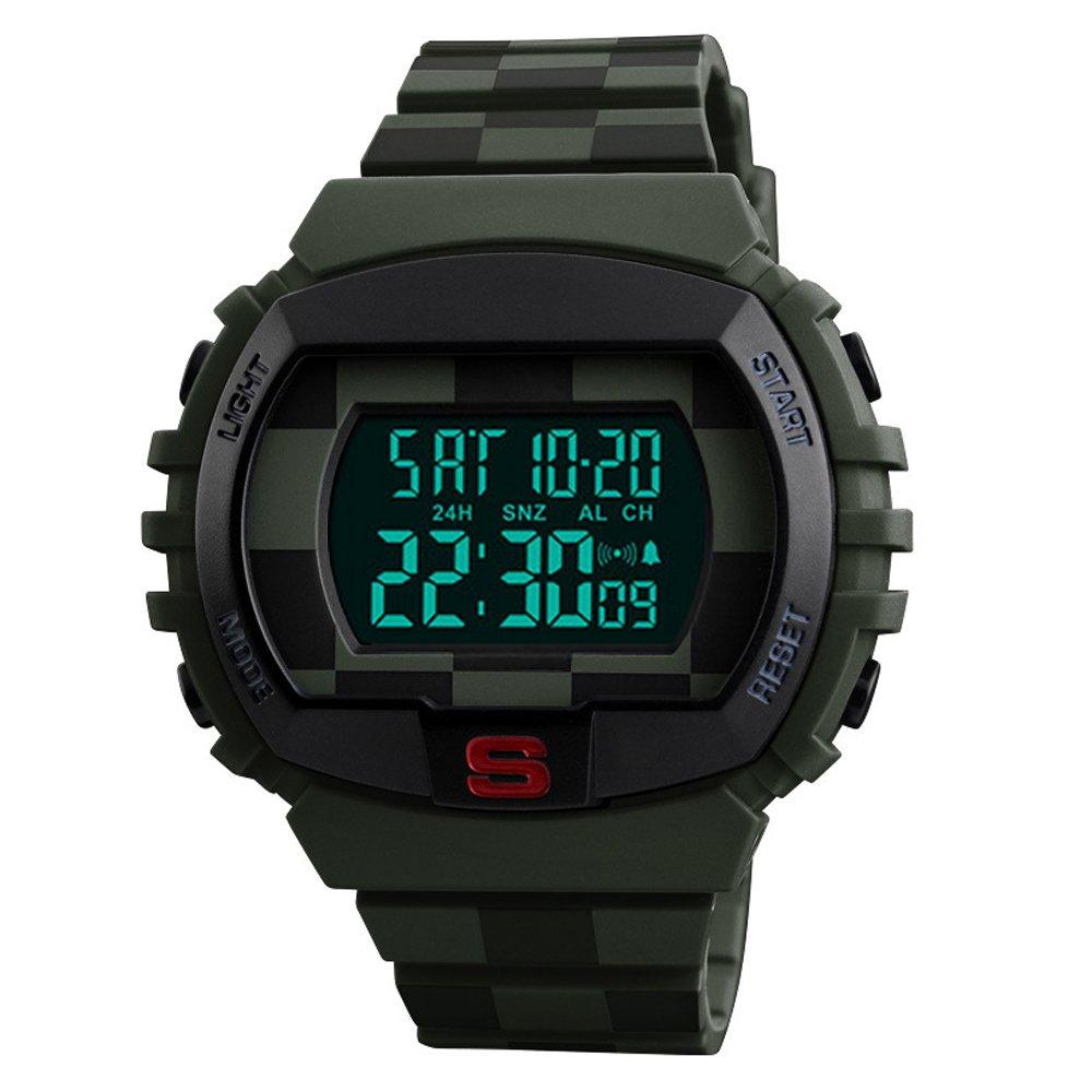 Reloj de deporte, militar y de buceo digital para hombre. Con resistencia al agua de hasta 50 m, diseño sencillo, iluminación LED y carcasa grande