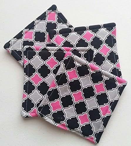 Amazon.com: Set Of 4 Fabric Coasters Pink Black Quatrefoil