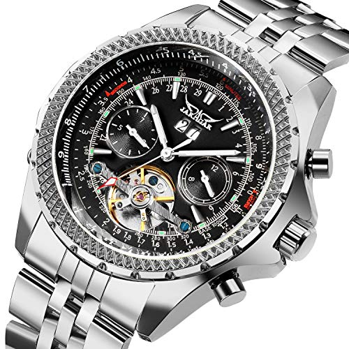GuTe Classic Multi Functional Automatic Mechanical Watch Luminous Tachymeter Black Face