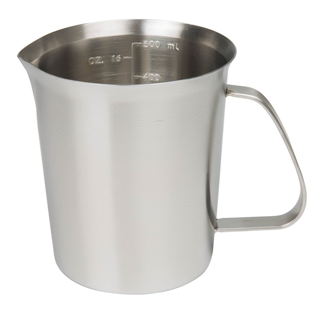 Sissiangle 18/10 Stainless Steel Measuring Cup,Frothing Pitcher with Marking with Handle for Milk Froth, Latte Art (16 Ounce/ 0.5 Liter)
