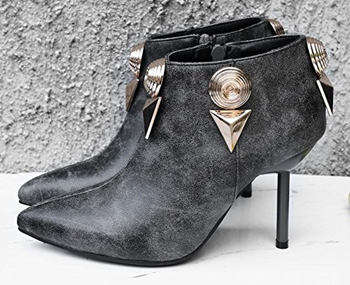 Aisun Kvinna Sexig Metall Dressy Spetsiga Tå Tossor Zip Inuti Upp Högt Stilett Häl Boots Med Dragkedja Grå