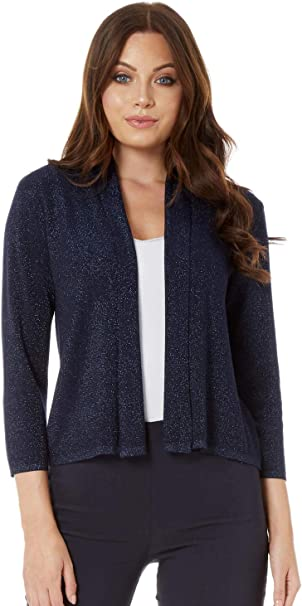 Womens Plain Short Sleeve Knitted Cropped Lurex Casual Cardigan Ladies Shrugs