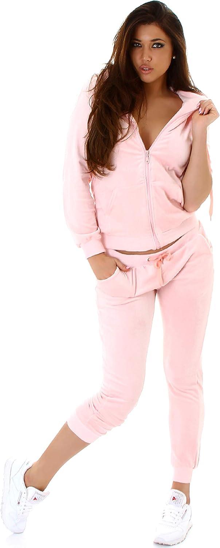Jela London - Conjunto de chándal para mujer, traje para entrenamiento velours terciopelo, set de chaqueta y pantalón (34/36/38/40)