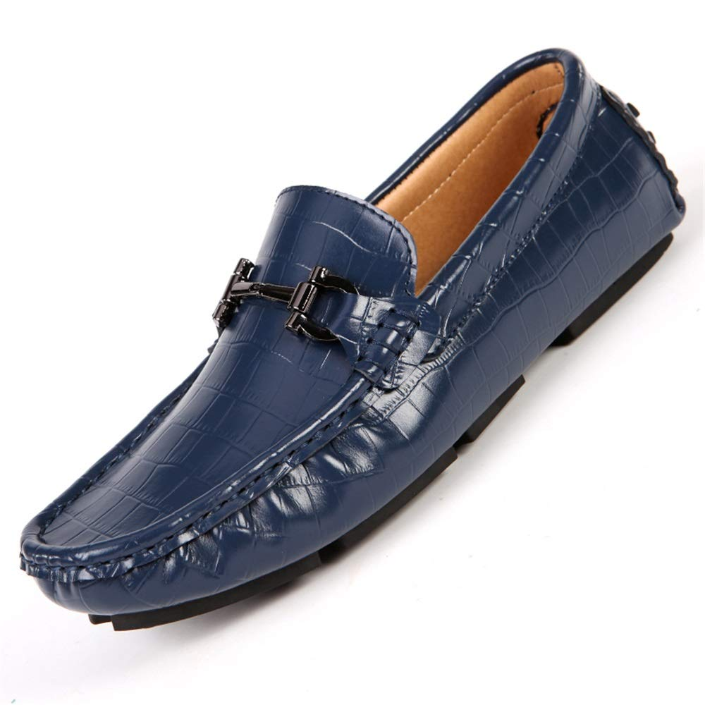 Gobling Men's Driving Shoes, Personality Embossed Leather Anti-Slip Loafers Summer Cozy Round Toe Metal Buckle Casual Shoes (Color : Blue, Size : 7 M US)