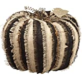 14''Hx18''W Artificial Burlap Linen Pumpkin -Black/Brown