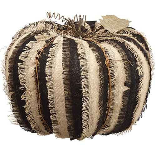 14''Hx18''W Artificial Burlap Linen Pumpkin -Black/Brown by SilksAreForever