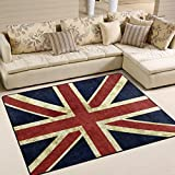 ALAZA Vintage Union Jack Area Rug Rugs for Living Room Bedroom 7'x5'