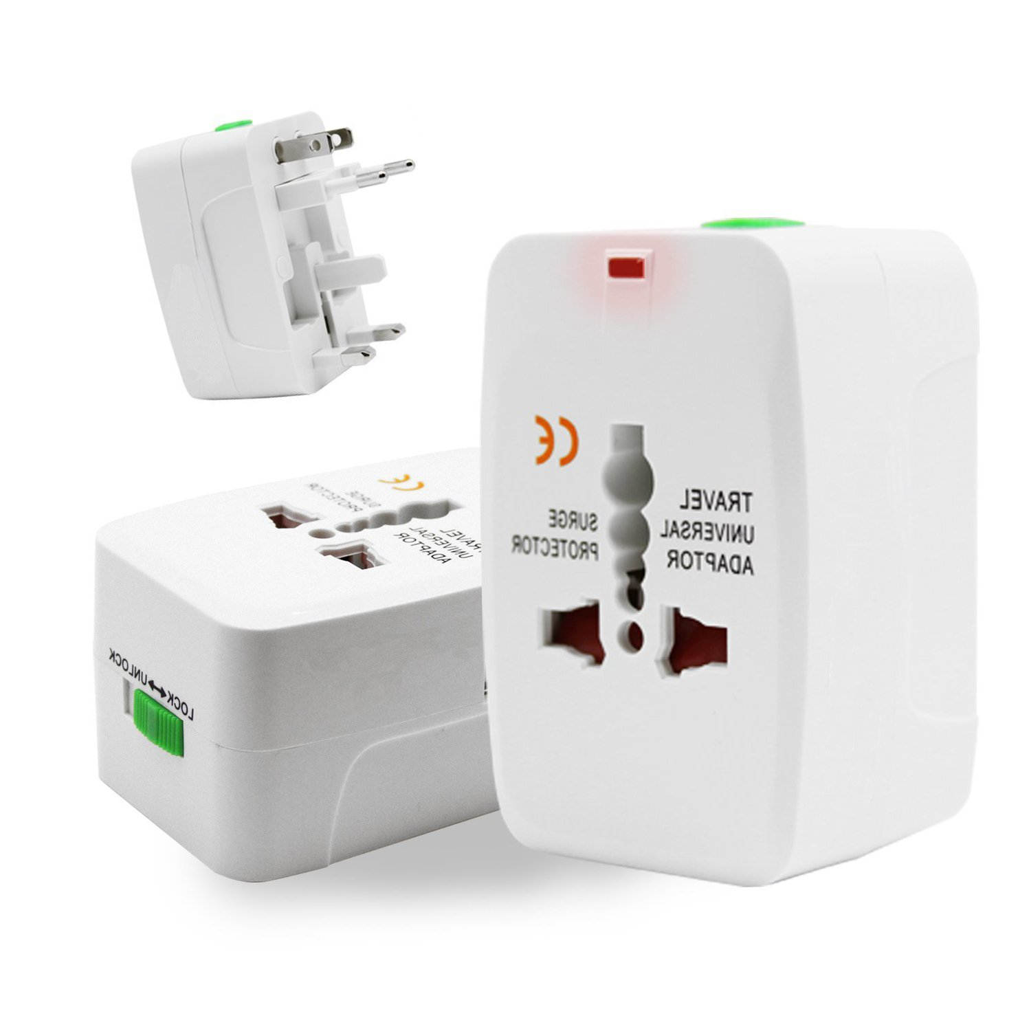 UK AUS to USA Travel Adapter Converter Two USB Port Universal Worldwide All in One Wall Adapter Converter Plug Surge Protector International Travel Power Adapter AC Power Europe EU