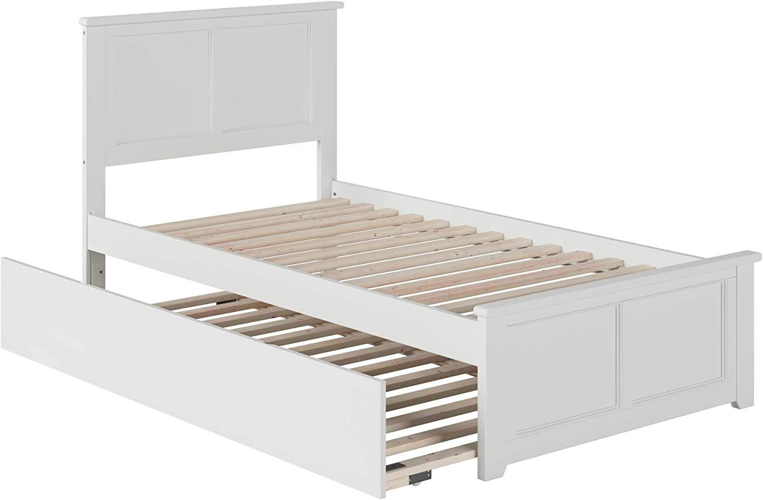Atlantic Furniture Madison Platform Bed with Matching Foot Board and Twin Size Urban Trundle, Twin, White