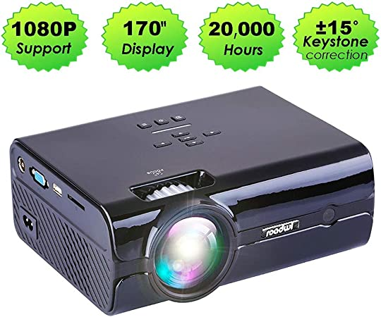 WOLJW LED Full HD 1080P Video Beamer Mini proyector portátil Cine en casa Cine LCD TV Smart 3D proyector de Cine PC / PS4 / HDMI/VGA/TF/AV/USB: Amazon.es: Hogar