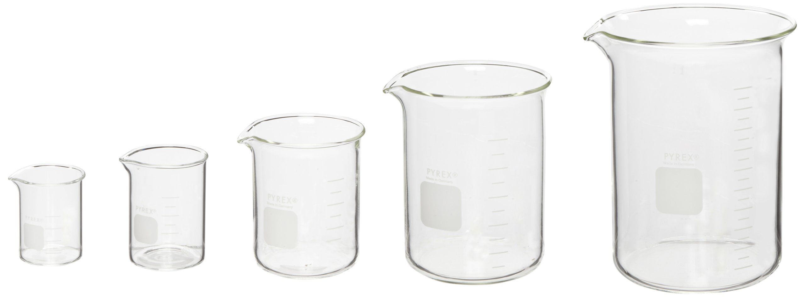 Corning Pyrex 5 Piece Glass Graduated Low Form Griffin Beaker Assortment Pack, with Double Scale