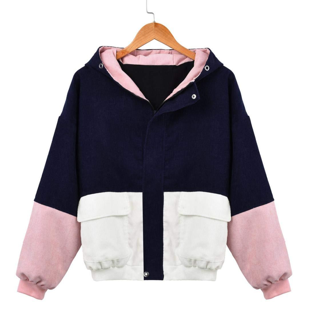 OCASHI Women Hoodie Jacket, Teen Girls Vintage Three-Color Patchwork Long Sleeve Zip Button up Pockets Jacket Outwear Coat with Hood Windbreaker (XXXL, Navy)