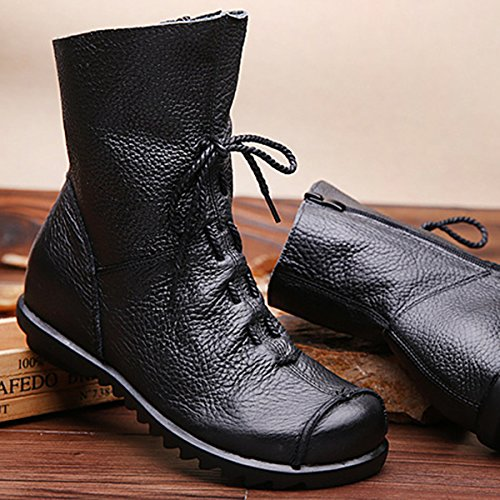 Boots Up Leather Flat Boots Socofy Lace Black Ankle With Women's Soft Fashion Zipper Handmade Women Oxford Shoes qEwn4517