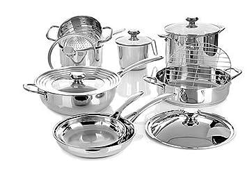 Wolfgang Puck Bistro Elite juego de cocina de acero inoxidable ~ 14 piezas: Amazon.es: Hogar