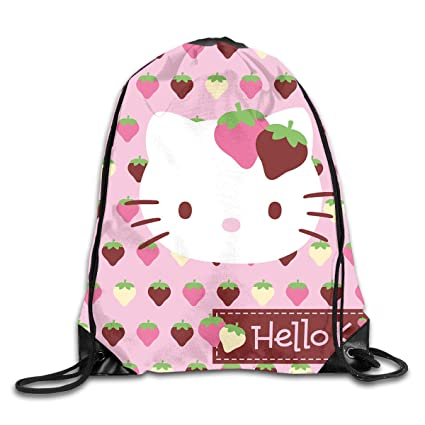 Image Unavailable. Image not available for. Color  Meirdre Unisex Cute Hello  Kitty Strawberry Sports Drawstring Backpack ... d523280151b54
