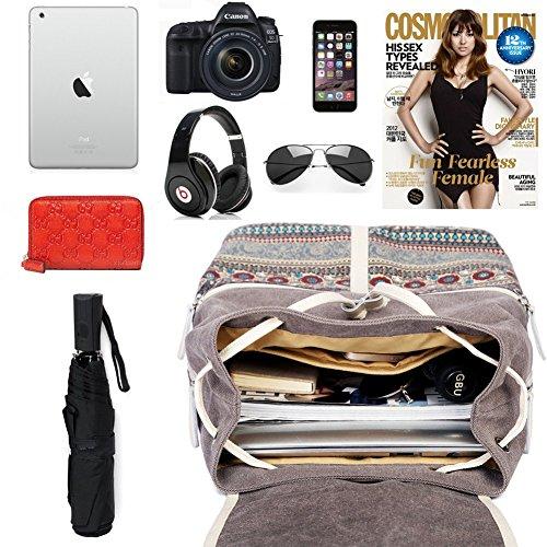 Casual Backpack Purse for Women,Canvas School Backpack Shoulder Bag Large Capacity Rucksack Bookbag fit Womens girls Ladies Travel Daypack by BTOOP (Image #4)