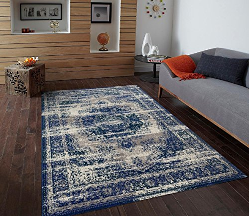 Dara Living 1600 Blue Traditional 5 x 7 Area Rug Carpet Large New ()