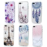 Image of iPhone 7 Plus Case (5.5 inch) - 6 Pcs Shock-absorption Soft TPU Rubber Skin Bumper Case Transparent Crystal Clear Cute Colorful Print Patterns Ultra Thin Slim Protective Cover by Badalink - Group 3