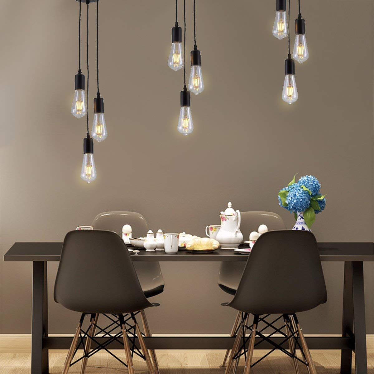PIANUO Retro Industrial Chandelier Pendant Lights 3 Head E26 Lamps Vintage Classic Edison Lamps Adjustable DIY Ceiling Lamps Ceiling Lights(No Bulbs)