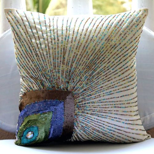 Luxury Ivory Accent Pillows, Sequins & Beaded Peacock Pillow Covers, 20