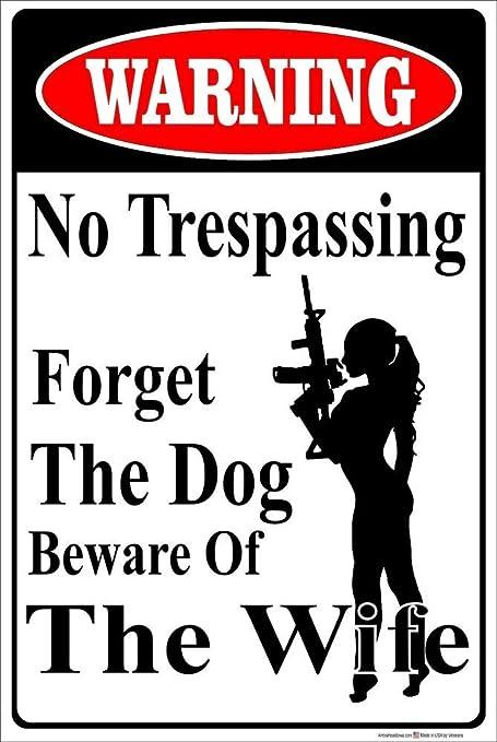 Warning Gun Owner Do Not Trespass Retro Vintage Metal Sign 9x12