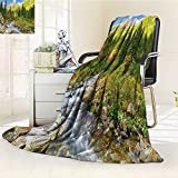 YOYI-HOME Luxury Double-Sides Reversible Fleece Duplex Printed Blanket Tatra National Park Carpathian Mountains Poland Woods Green Light Green Tan Travelling and Camping Blanket /W39.5 x H59
