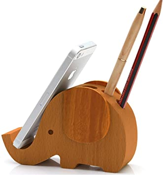 5.5in APSOONSELL Wooden Elephant Shape Cell Phone Stand Holder for Desk Organizer