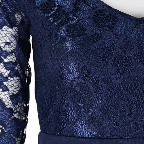 Babyonlinedress - Vestido - Manga Larga - para mujer azul marino