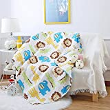 Decohome Baby Kids Quilts Cover for Cotbed Lion Pattern Quilt Cover for Boys Reversible Cotton Quilted Throw Blankets 43.3x51.2'', Lion