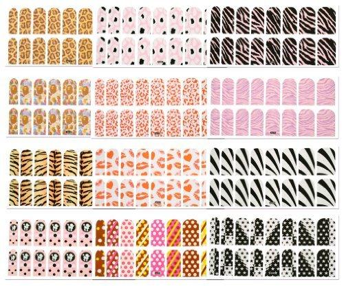 12er Nägel DIY modern Glanze Nagel Folien Warps voll abziehbilder Nagelfolie
