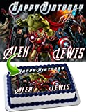 Anvengers Hulk, Iron Man, Thor, Captain America Edible Cake Topper Personalized Birthday 1/4 Sheet Decoration Custom Sheet Party Birthday on Wafer Rice Paper